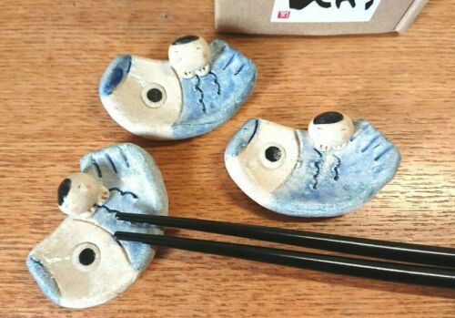 Hashioki Japanese chopstick rest Ohinasama Hina doll ningyo set of 2 Mino yaki