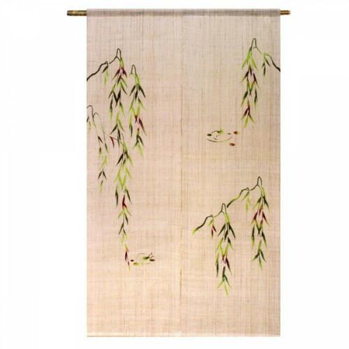 Kyoto Noren Japanese Door Curtain Willow and Frog motif Handcraft Linen Japan