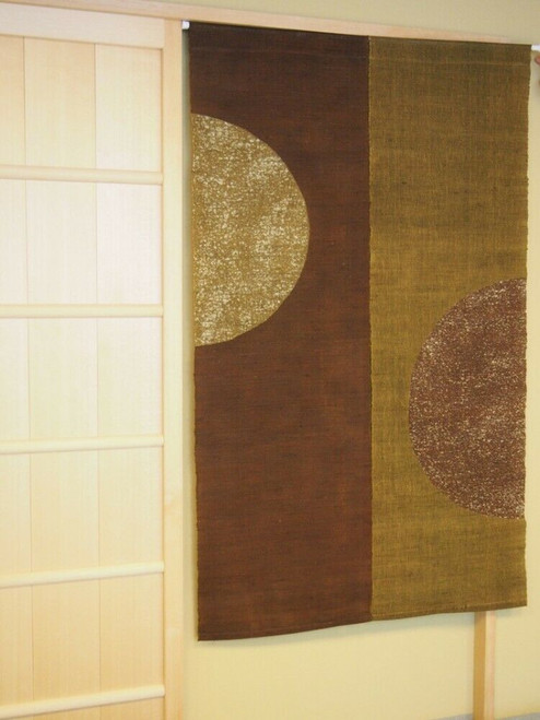 Kyoto Half Round Noren Door curtain Roketsu Dye Brown 88x150 Japan