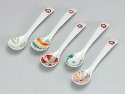 Scoop set of 5 Kutani yaki porcelain Iro-e Overglaze enamel Made in japan