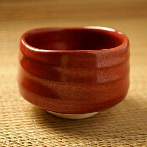 Matcha Chawan Japanese green Tea Bowl Mino yaki ware Iron Red Glaze Japan