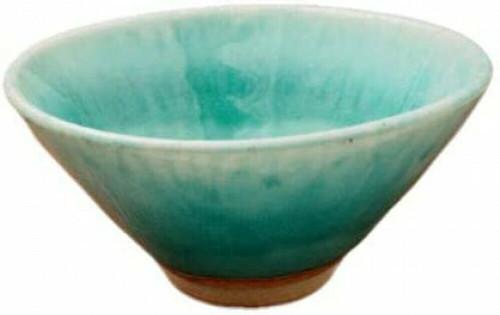 Matcha Chawan Japanese green Tea Bowl Mino yaki ware Turkey Blue Glaze Japan