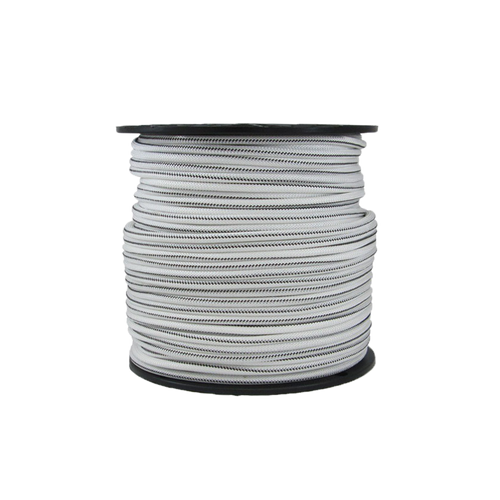 "1/4"" Bungee Shock Cord Polyester White With Black Tracer"