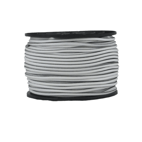 "3/16"" Bungee Shock Cord Polyester White With Black Tracer"