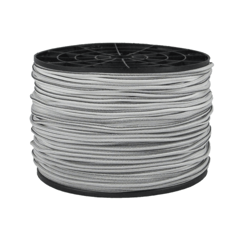 "1/8"" Bungee Shock Cord Polyester White With Black Tracer"