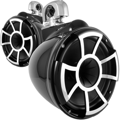 "REV 10 B-SC V2 MINI | Wet Sounds REV Series 10"" Black Tower Speaker With TC3 Mini Swivel Clamps For Tube Diameter 1"" To 1 7/8"""