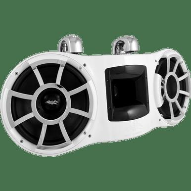 "REV 410 W-SC V2 | Wet Sounds Revolution Series Dual 10"" White Tower Speaker With TC3 Swivel Clamps For Tube Diameter 1 7/8"" To 3"""