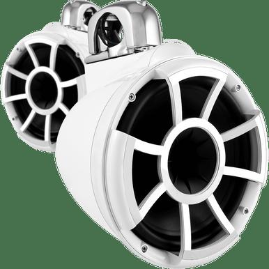 "REV 10 W-FC V2 MINI   Wet Sounds Revolution Series 10"" White Tower Speaker With TC3 Mini Fixed Clamps For Tube Diameter 1"" To 1 7/8"""