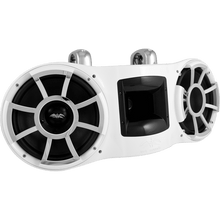 "REV 410 W-FC V2 | Wet Sounds Revolution Series Dual 10"" White Tower Speaker With TC3 Fixed Clamps For Tube Diameter 1 7/8"" To 3"""