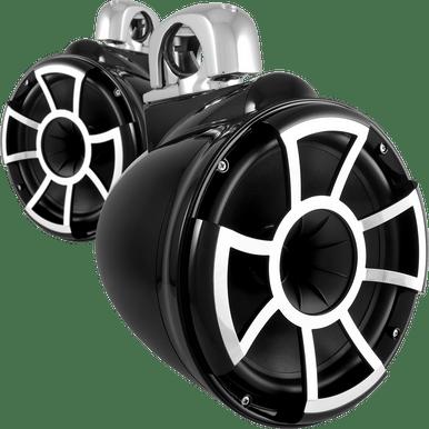 "REV 10 B-FC V2 | Wet Sounds Revolution Series 10"" Black Tower Speaker With TC3 Fixed Clamps For Tube Diameter 1 7/8"" To 3"""