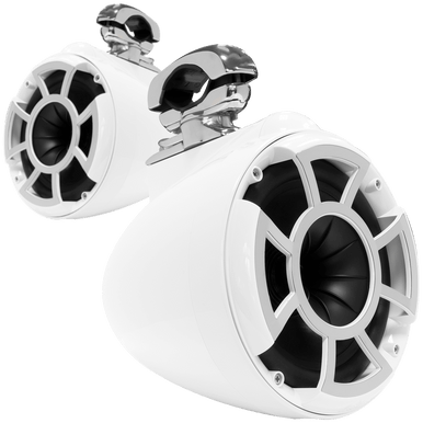 "REV 8 W-SC V2 MINI   Wet Sounds REV Series 8"" White Tower Speaker With TC3 Swivel Mini Clamps For Tube Diameter 1"" To 1 7/8"""