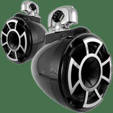 "REV 8 B-SC V2 MINI | Wet Sounds REV Series 8"" Black Tower Speaker With TC3 Swivel Mini Clamps For Tube Diameter 1"" To 1 7/8"""