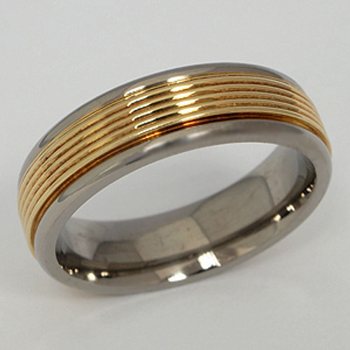 Titanium & Yellow Gold Wedding Band tita142
