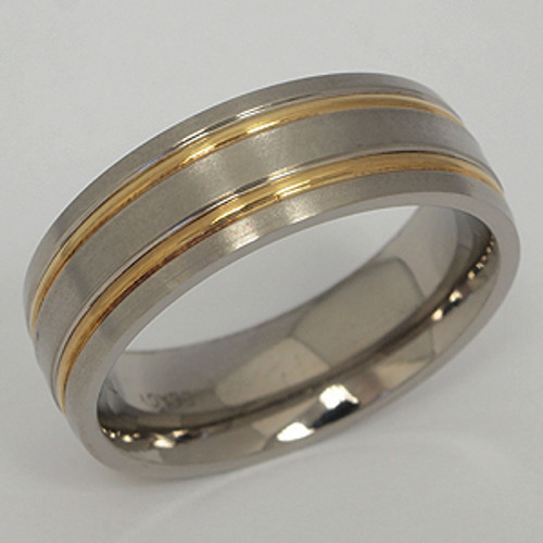 Titanium & Yellow Gold Wedding Band tita141