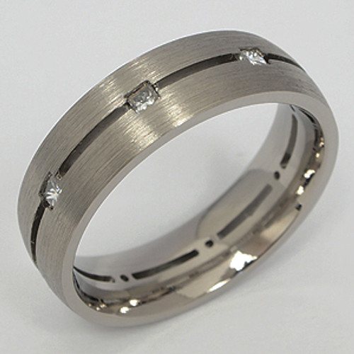 Titanium Diamond Wedding Band tita129