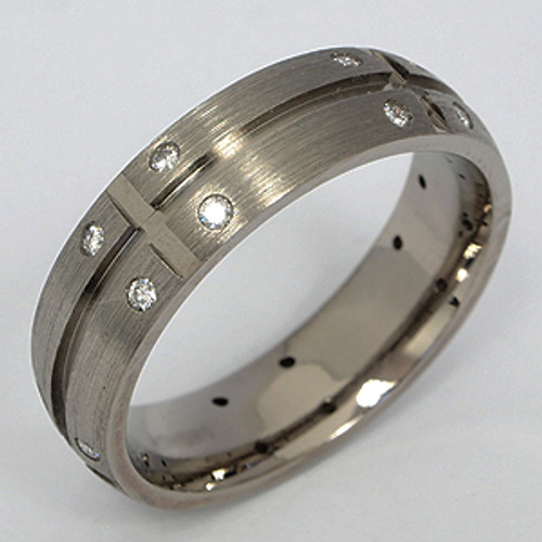 Titanium Diamond Wedding Band tita130