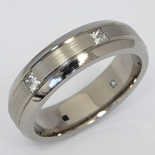 Titanium Diamond Wedding Band tita128