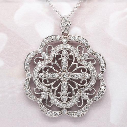 Unique Diamond Medallion Pendant