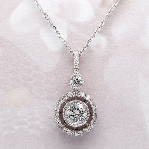 Round Halo Diamond Pendant