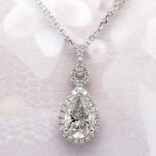 Pear Shape Halo Diamond Pendant