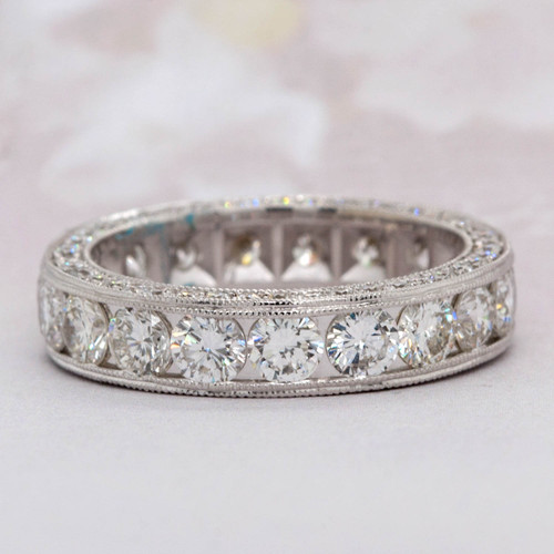 Diamond Three Sided Eternity Wedding Band