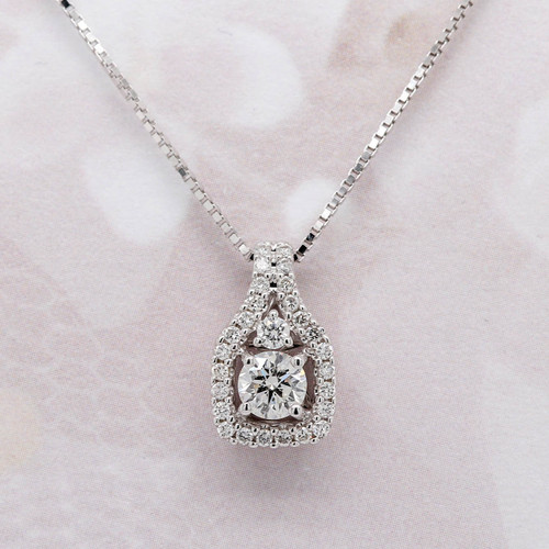 Round Diamond Halo Pendant