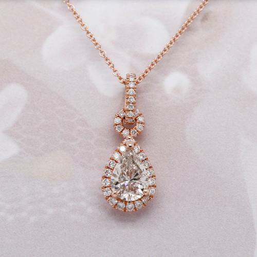 Rose Gold Pear Shape Diamond Halo Pendant
