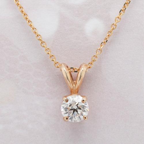 Round Diamond Solitaire Pendant