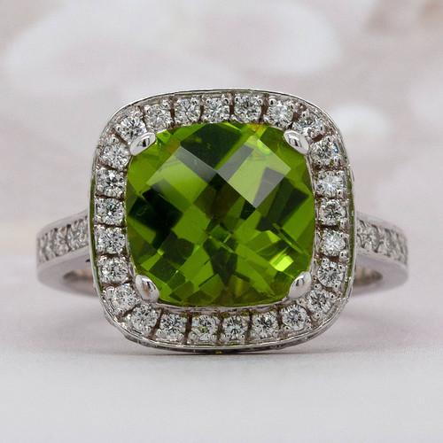 Halo Peridot and Diamond Ring