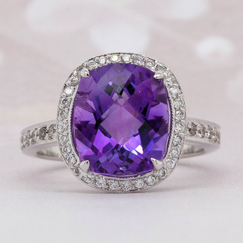 Halo Amethyst and Diamond Ring