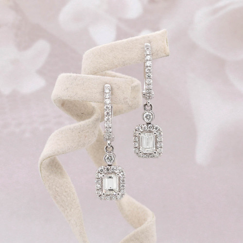 Emerald Cut Diamond Halo Dangle Earrings
