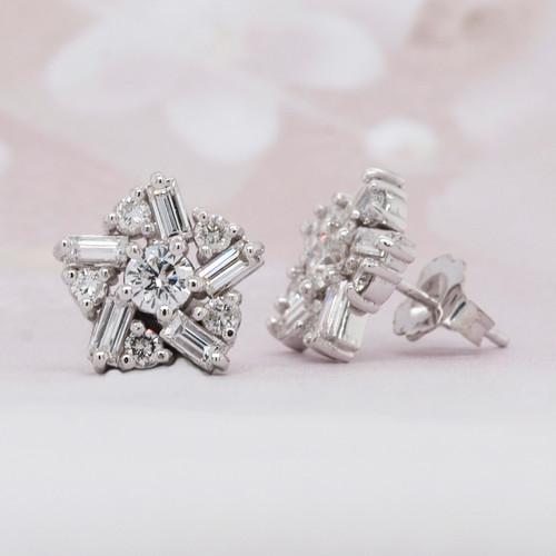 Baguette and Round Diamond Stud Earrings