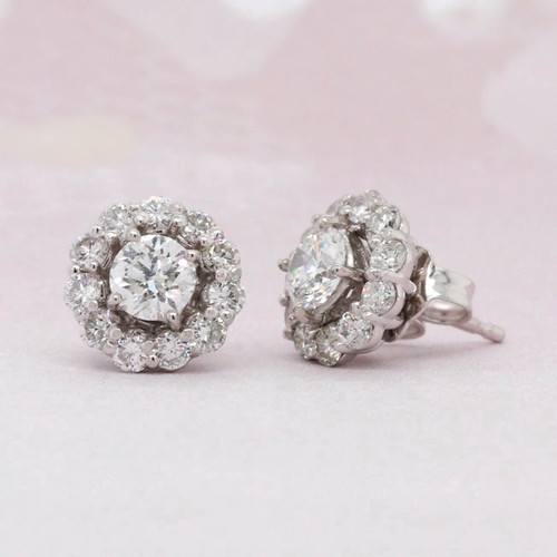 Stud Diamond Earrings with Jacket