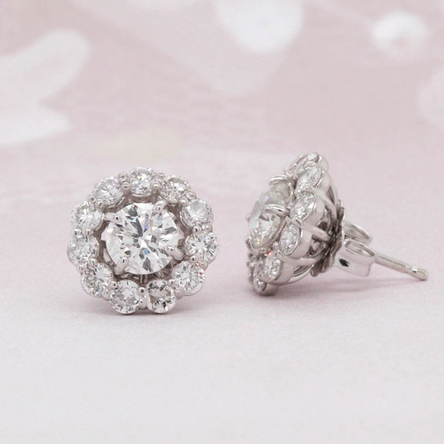 Stud Diamond Solitaire Earrings with Jacket Sold Together