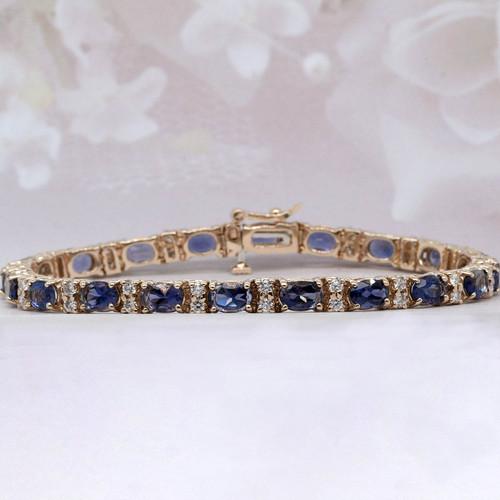 Iolite and Diamond Tennis Bracelet