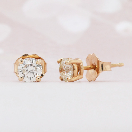 Round Diamond Solitaire Stud Earrings