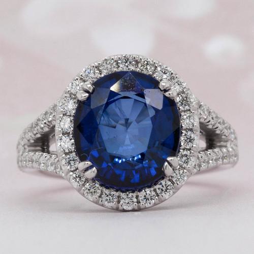 Halo Sapphire and Diamond Ring