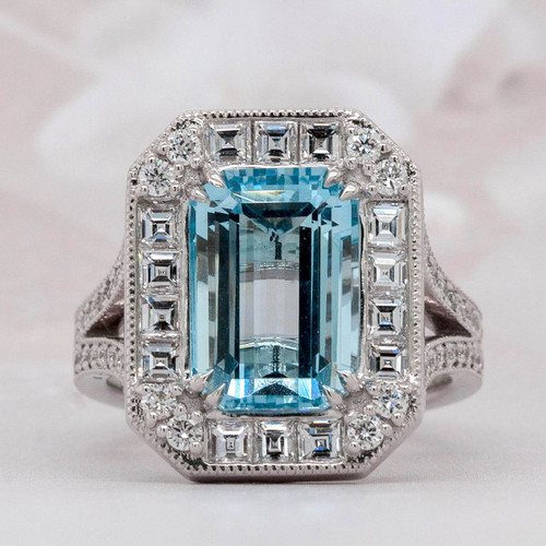 Halo Aquamarine and Diamond Ring