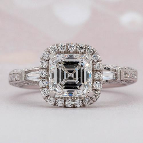Halo Asscher Engagement Ring