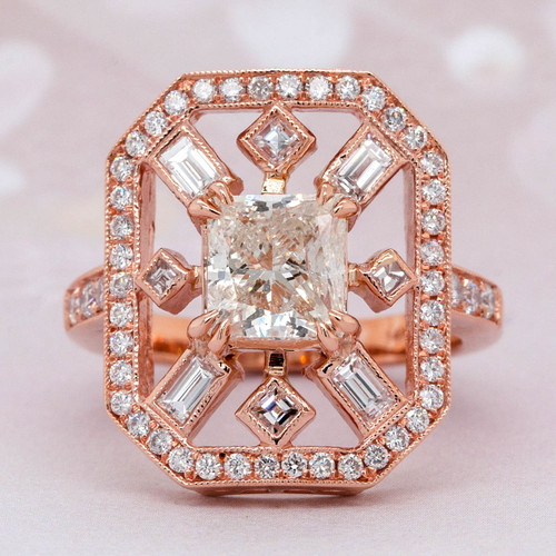 Antique style Halo Diamond Ring