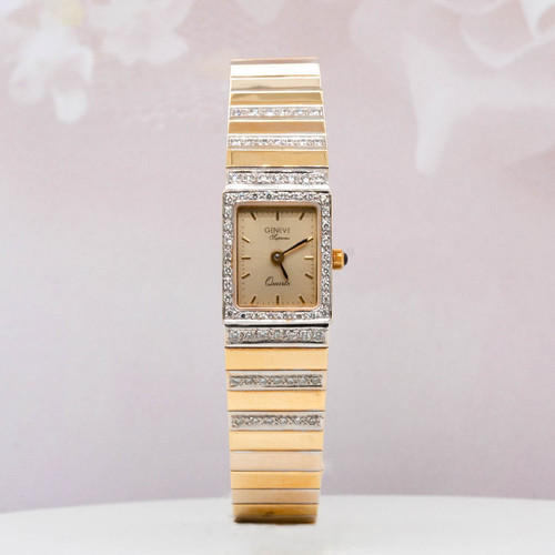 14 KT white and yellow gold Geneve diamond watch