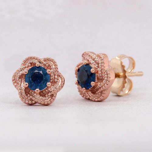 Rose Gold Sapphire Earring