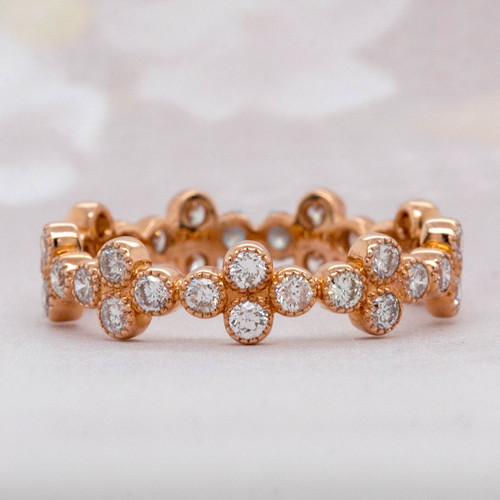 Rose Gold Floral Eternity Band