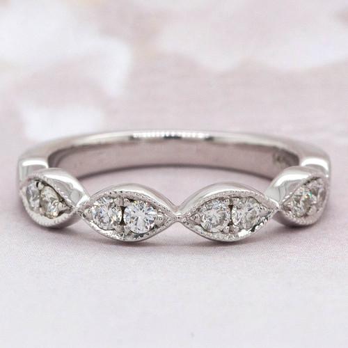 Marquise Scalloped Diamond Wedding Band