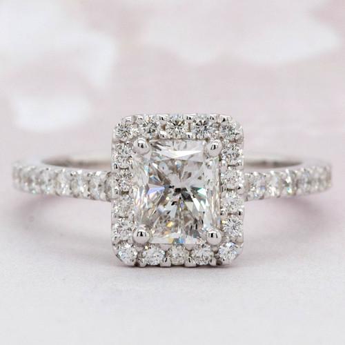 Elongated Radiant Diamond Halo Engagement Ring