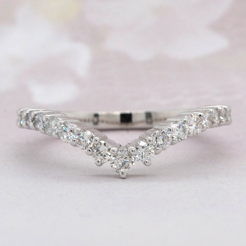 Curved V Shape Diamond Wedding Band