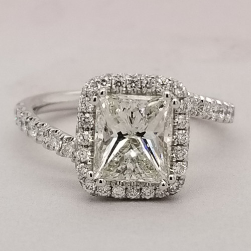 Elongated Princess Diamond Halo Engagement Ring