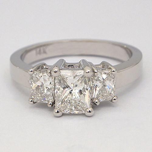 Three Stone Radiant Cut Diamond Engagement Ring stn108