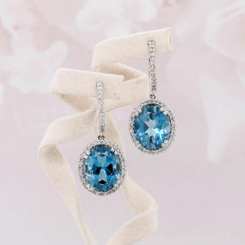 Blue Topaz & Diamond Halo Dangle Earrings