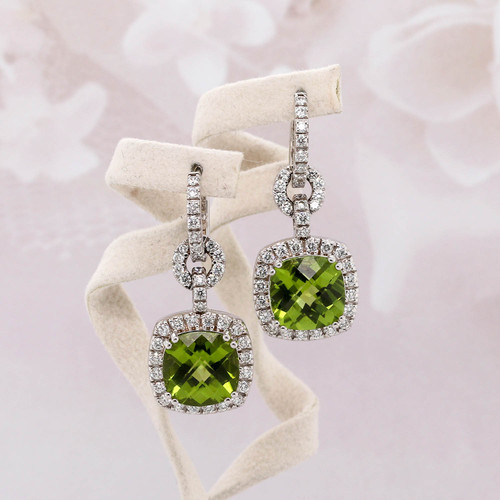 Peridot & Diamond Halo Dangle Earrings